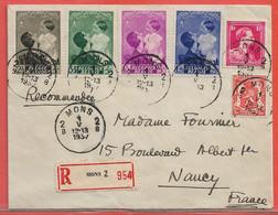 BELGIQUE LETTRE RECOMMANDEE DE 1937 DE MONS POUR NANCY FRANCE - Cartas