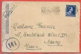 BELGIQUE LETTRE CENSUREE DE 1941 DE BRUXELLES POUR NANCY FRANCE - Cartas