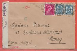BELGIQUE LETTRE CENSUREE DE 1941 DE SAINT JOSSE POUR NANCY FRANCE - Cartas