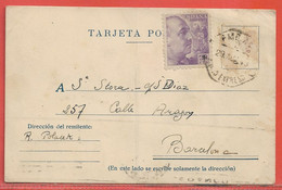 ESPAGNE CARTE DE 1943 DE MADRID POUR BARCELONE - 1931-50 Briefe U. Dokumente