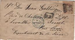 Espagne Entrée Espagne 4 Le Perthus 4 Lettre Timbre Barcelone 21 Juin 1872 Pour Paris Cachet PD Payé Destination - Cartas