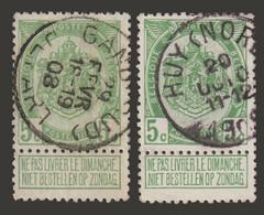 """2 COB N° 83  Année 1907- """"ARMOIRIES"""" De 1893 - Belles Oblitérations """"GAND (SUD) & HUY (NORD)"""" - Sonstige"""