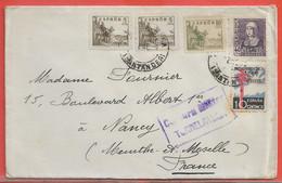 ESPAGNE LETTRE CENSUREE DE TORRELAVEGA POUR NANCY FRANCE - 1931-50 Briefe U. Dokumente
