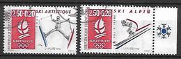 FRANCE    -   1991 .  Y&T N° 2709a & 2710a Oblitérés . JO D'Albertville /  Ski Artistique  /  Ski Alpin - Oblitérés