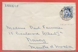 GRANDE BRETAGNE LETTRE DE 1954 DE ILE DE WIGHT POUR NANCY FRANCE - Covers & Documents
