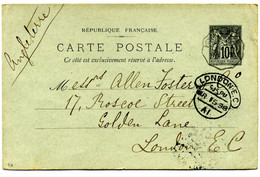 Carte Postale  Entier  Sage  10 C Gris Avec  Convoyeur  PUYOO à DAX ( écite à BELLOCQ ) Pour  Londres En 1898  ( T 90 ) - Cartes Postales Types Et TSC (avant 1995)