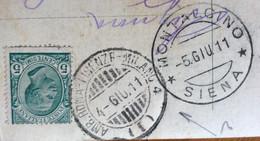 AMBULANTE ROMA-FIRENZE-MILANO 4 ( 1 ) 4 GIU 11 + MONTALCINO * SIENA * CARTOLINA DA ROMA - Storia Postale
