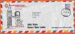 GRANDE BRETAGNE PREMIER VOL LETTRE DE 1973 DE HOUNSLOW POUR ASMARA ETHIOPIE - Covers & Documents