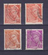 TIMBRE FRANCE 408/408a/409/410 OBLITERE - 1938-42 Mercure