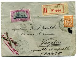 Cochinchine - Lettre Recommandée  De  BEN THUY ( Annam ) Via  Saigon  Marseille  Pour  Vézelise ( France )  En  ( T 92 ) - Briefe U. Dokumente