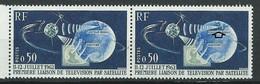 [45] Variété : N° 1361 1ere Liaison Télévision Par Satellite Ocean Atlantique Bleu-noir Au Lieu De Bleu Tenant Normal ** - Variétés: 1960-69 Neufs