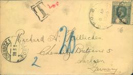 """1925, Umschlag Mit 2 C. Georg V Mit """"T 20"""" Und """"CHEMNITZ PORTO"""" Nachtaxiert. - Fidschi-Inseln (...-1970)"""
