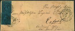 """1860 (ca.), 2-mal 2 Ngr. Johann Auf Umschlag Ab CHEMNITZ, Nr-Stmpl """"8"""" Rs. Bahnpost """"BERLIN-LEIPZIG"""" - Saxe"""