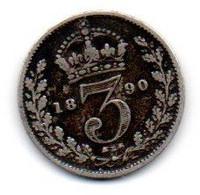 Grande Bretagne - 3 Pence 1890 - TB+ - F. 3 Pence