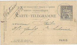 1894 / Entier Carte-télégramme / De Paris Pour Steib 275 Fg St-Antoine Paris - Télégraphes Et Téléphones