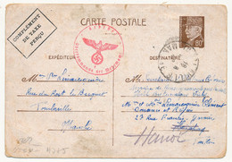Entier CP 80c Bersier Complément De Taxe Perçu, Pour HANOI (Indochine) - Censure Allemande En Rouge - 1942 - Cartes Postales Types Et TSC (avant 1995)