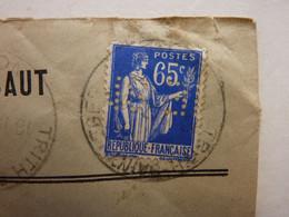 Timbre N°365 Perforé , Oblitéré Sur Enveloppe Ste Métallurgique De L'Escaut, Trith St Léger( Nord ) - Perforés