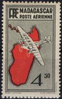 MADAGASCAR Poste Aérienne   7 * MLH Carte En Rouge Et Monogramme RF 1935-1938 - Airmail