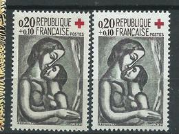 [45] Variété : N° 1323 Croix-rouge 1961 Gris-foncé Au Lieu De Noir + Normal ** - Variétés: 1960-69 Neufs