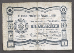 Banconota Frente Popular De Porcuna (Jaen) - Una Peseta - Anno 1936 - Unclassified