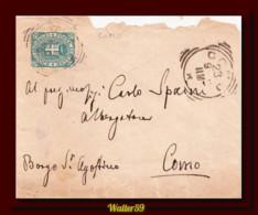 1890 Italia Busta Umb C5 Vg Distretto Como Aperta Male - Poststempel