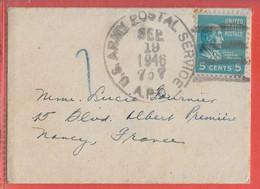 ETATS UNIS LETTRE MILITAIRE DE 1946 POUR NANCY FRANCE - Briefe U. Dokumente