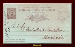1889 Italien Italie Italia Intero Umb C10 Vg Firenze X Marsala Ganzsache Entier - Ganzsachen