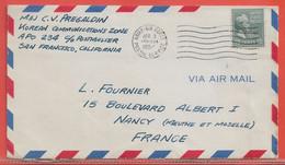 ETATS UNIS LETTRE MILITAIRE DE 1954 DE SAN FRANCISCO POUR NANCY FRANCE - Briefe U. Dokumente