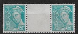 FRANCE  PAIRE Nº229   GOMME D'ORIGINE ET SANS CHARNIÈRE   MNH  NEUF TTB      COTE: 15.00€ - 1938-42 Mercure