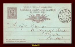 1889 Italia Italy Italie Intero Umb C10 Vg Roma X London GB Entier Stationery Card - Ganzsachen