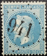 N°29B. Napoléon 20c Bleu. Oblitéré Losange G.C. N°941 Châteauneuf-sur-Charente - 1863-1870 Napoléon III Lauré