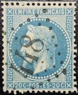 N°29B. Variété. Napoléon 20c Bleu. Oblitéré Losange G.C. N°448 Bergues - 1863-1870 Napoléon III Lauré