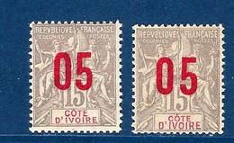 """Cote Ivoire YT 36 & 36A """" TP Surchargés """" 1912 Neuf** - Neufs"""