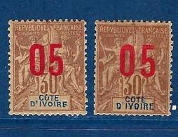 """Cote Ivoire YT 37 & 37A """" TP Surchargés """" 1912 Neuf* - Neufs"""