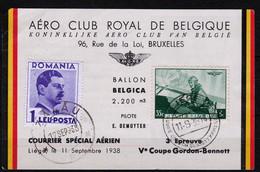 M/s, 1938, Royal Aero Club - Special Courier Belgium / Romania - Cartas