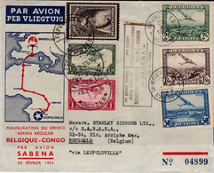 Cover - Inaugural Flight To The Belgian Congo 25/2/1935, Registered - Cartas