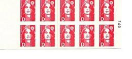 Carnet à Lettre D Rouge Marianne De Briat Y&T 2713-c1 ACCP599 Maury489 Neuf  Muet Numerote 071 - Usage Courant