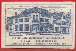 NL.- LIMMEN. HOTEL CAFÉ RESTAURANT - FRIESLAND -. J. GLAS, RIJKSSTRAATWEG. Suikerzakje. Sucre. Sugar. Zucker. Zucchero - Zucchero (bustine)
