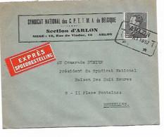 SH 0852. N° 432 Cach. TELEGRAPHIQUE ARLON T 23.XI.1937 T S/Lettre EXPRES Vers Bruxelles. TB - 1936-51 Poortman