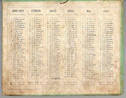 CALENDRIER GF 1872 - Sans Image Ou Dessin, Imprimeur Mac Henry Rue De La Parcheminerie Paris - Big : ...-1900