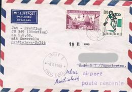 Tschechoslowakei / CSSR Luftpostbrief Erstflug Bratislava - Split - In Beiden Städten Gestempelt - Cartas