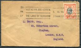 "1937 KUT Kenya Nairobi ""The Land Of Sunshine"" Machine Slogan Cover (Cable & Wireless Limited) - Clapham London - Kenya, Uganda & Tanganyika"