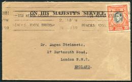 "1939 KUT Kenya Nairobi ""Use Kenya Cedar"" Machine Slogan OHMS Cover - Dr Steinmetz, London NW2 England - Kenya, Uganda & Tanganyika"