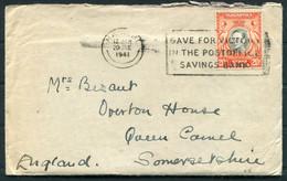 """1941 KUT Kenya Nairobi """"Save For Victory"""" Machine Slogan Cover (+ 2 Page Letter)- Queen Camel, Somerset - Kenya, Uganda & Tanganyika"""