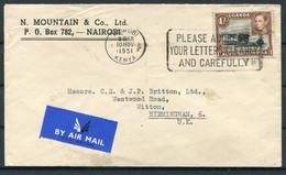 1951 KUT Kenya Mountain & Co. Nairobi Machine Slogan Airmail Cover - Witton Birmingham - Kenya, Uganda & Tanganyika