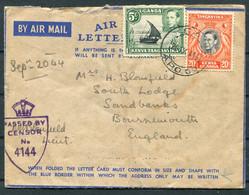 1944 K.U.T. Airmail Censor E.A. A.P.O. 69 (103 Holding Depot) Fieldpost Air Letter - Sandbanks Bournemouth England - Kenya, Uganda & Tanganyika