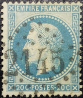N°29B. Variété. Napoléon 20c Bleu. Oblitéré Losange G.C. N°2145 Lyon - 1863-1870 Napoléon III Lauré