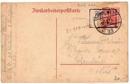 Carte Germania Surchargée 10 Cent. ZIVILARBEITERPOSTKARTE Oblitérée En 1917 Pour Roubaix - Cartes Postales Types Et TSC (avant 1995)