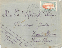 Doppelt Benutztes Cover Guadeloope > Sainte-Marie (Haut Rhin) 1927 - Lettres & Documents
