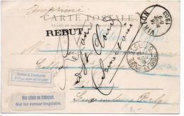 Belgique : Etiquette 'Non Admis Au Transport / Niet Ten Vervoer Toegelaten' Sur Carte De France De 1903 - Unclassified